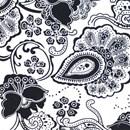 Tissu de Marie bloemen zwart op witte achtergrond (per 50 cm)