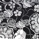 Tissu de Marie bloemen wit op zwarte achtergrond (per 50 cm)