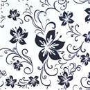 Tissu de Marie lelie zwart op witte achtergrond (per 50 cm)