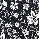 Tissu de Marie lelie wit op zwarte achtergrond (per 50 cm)