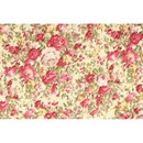 Tissu de Marie - Katoen rozen roze op ecru achtergrond (per 50 cm)