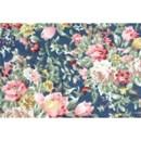 Tissu de Marie - Katoen rozen op blauwe achtergrond (per 50 cm)