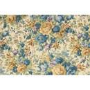 Tissu de Marie - Katoen bloemen blauw op ecru achtergrond (per 50 cm)