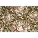 Tissu de Marie - Katoen bloemen op groen bruine achtergrond (per 50 cm)