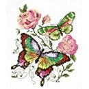 Borduurpakket dieren - Butterflies and roses