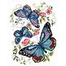 Borduurpakket dieren - Blue butterflies