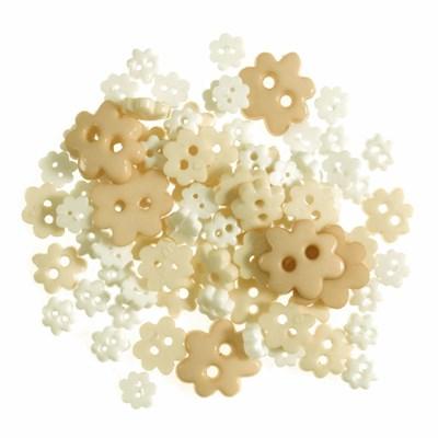 Knoop 4 - 10 mm bloem mini wit en room geel 2,5 gr