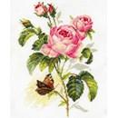 Borduurpakket bloemen rose and butterfly AL02013