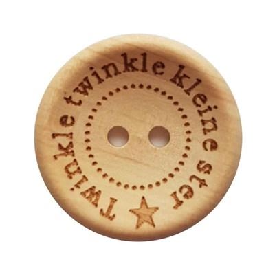 Knoop 20 mm hout - Twinkle twinkle little star 4 stuks