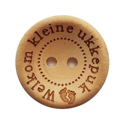 Knoop 25 mm hout - Welkom kleine ukkepuk 3 stuks