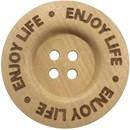 Knoop 40 mm hout - Enjoy life (2 stuks)