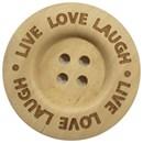 Knoop 40 mm hout - Live Love Laugh (2 stuks)