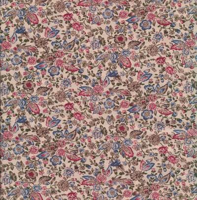 Tissu de Marie - ecru met bloemen roze rood per 50 cm