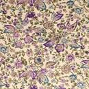 Tissu de Marie - ecru met bloemen paars zand (per 50 cm)