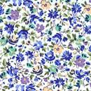 Tissu de Marie - naturel met bloemen blauw paars geel (per 50 cm)