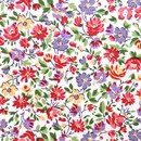 Tissu de Marie - wit met bloemen rood geel lila (per 50 cm)