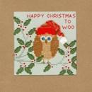 Borduurpakket kerstkaart - Xmas owl