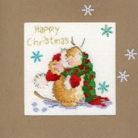 Borduurpakket kerstkaart - counting snowflakes