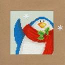 Borduurpakket kerstkaart - snowy penguin