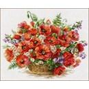 Borduurpakket bloemen Basket of Poppies AL02-28(op=op)