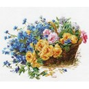 Borduurpakket bloemen roses ans cornflower al-2-27 (op=op)op
