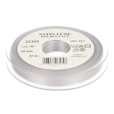 lint satijn 10 mm - zilver grijs 1 meter