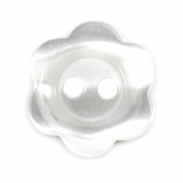 Knoop 20 mm bloem wit op=op