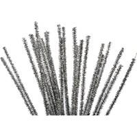 Chenille 6 mm - 30 cm glitter zilver (20 stuks)