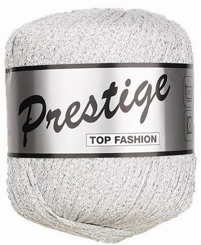 Lammy Yarns Prestige 005 wit met zilver op=op