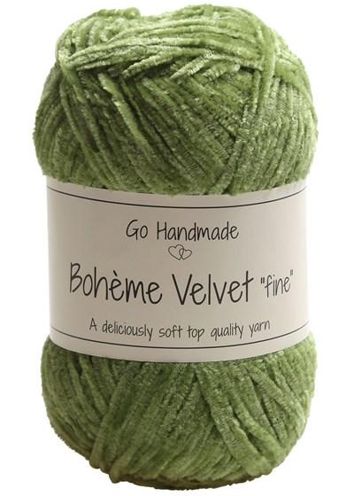 Go handmade Boheme Velvet fine 17616 Peridot Green op=op
