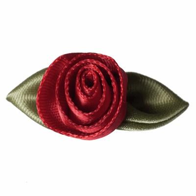 Roosjes rood met blad 30 a 20 mm 10 stuks