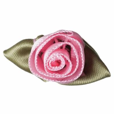 Roosjes roze met blad 30 a 20 mm 10 stuks