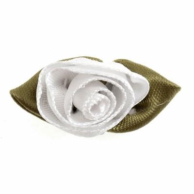 Roosjes wit met blad 30 a 20 mm 10 stuks