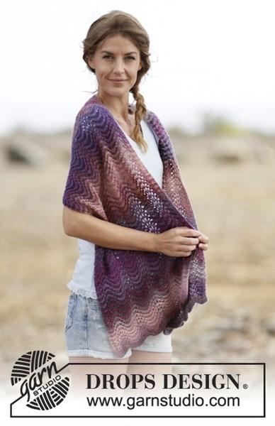 Breipatroon Sjaal met golvenpatroon en strepen