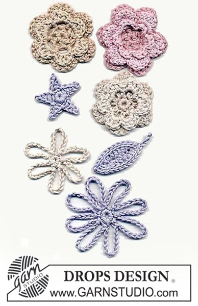 Haakpatroon bloem, blaadje en ster