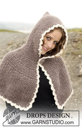 DROPS Poncho met capuchon in ....
