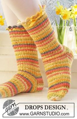 Korte DROPS sokken in boordsteek ....