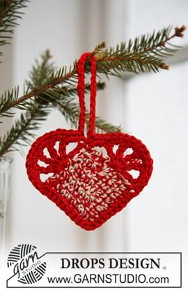 Gehaakt DROPS Kerst hart van Cotton ....