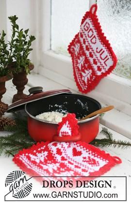 Gebreide DROPS pannenlappen met Kerst ....