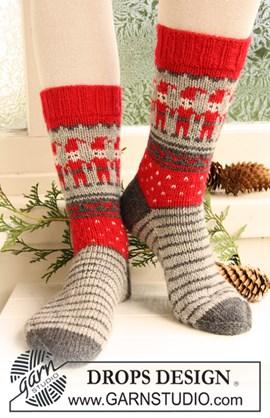Gebreide DROPS sokken met Kerst ....