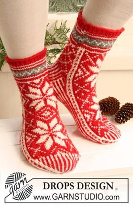 Gebreide DROPS sokken met patroon ....