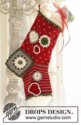 Gebreide en gehaakte Kerst sok