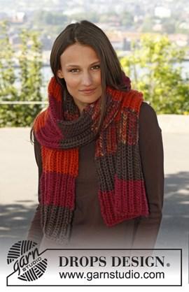 Gebreide sjaal in Patentsteek met strepen van Eskimo.