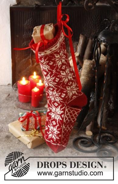 Breipatroon Gebreide kerstsok met Noors patroon