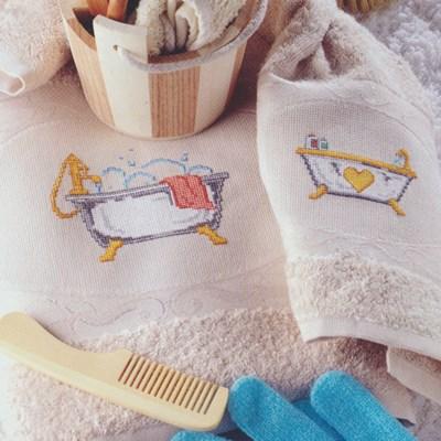 Borduurpatroon Badkuip met handdoek