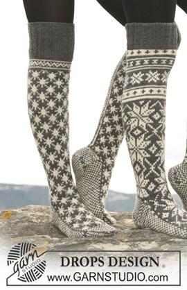 Gebreide DROPS sokken met een Noors ....