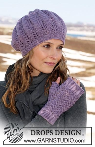 Breipatroon muts met vingerloze handschoenen