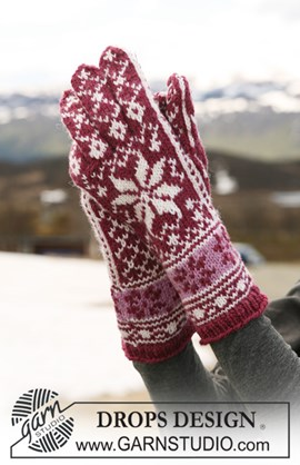 DROPS handschoenen met patroon van ....