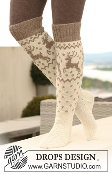 Breipatroon Gebreide sokken met rendieren