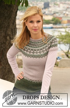 trui met korte raglanmouwen en Noors patroon